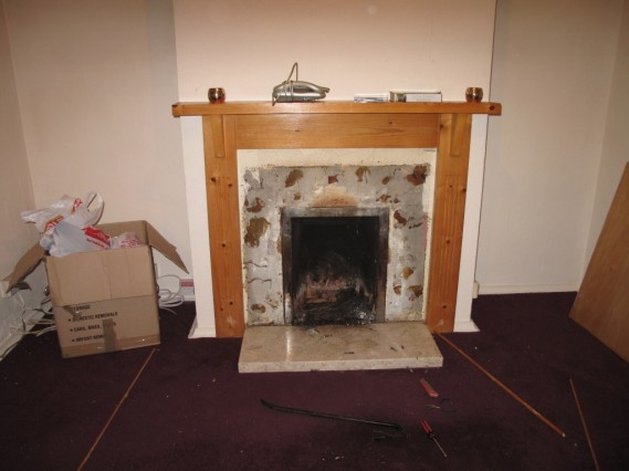 Opened up fireplace