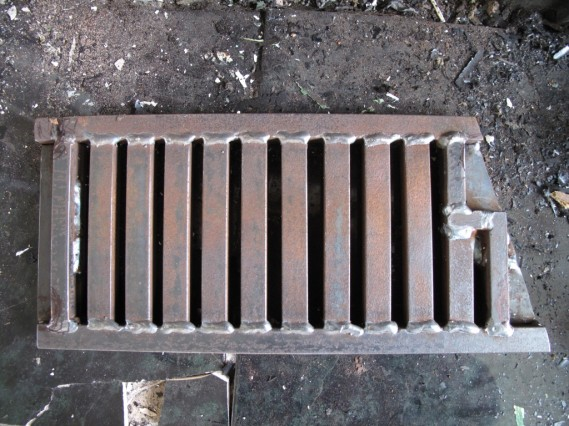 bottom of grate before