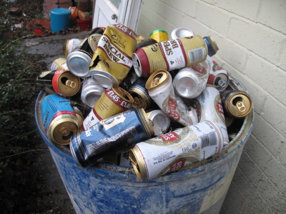 A barrel of cans